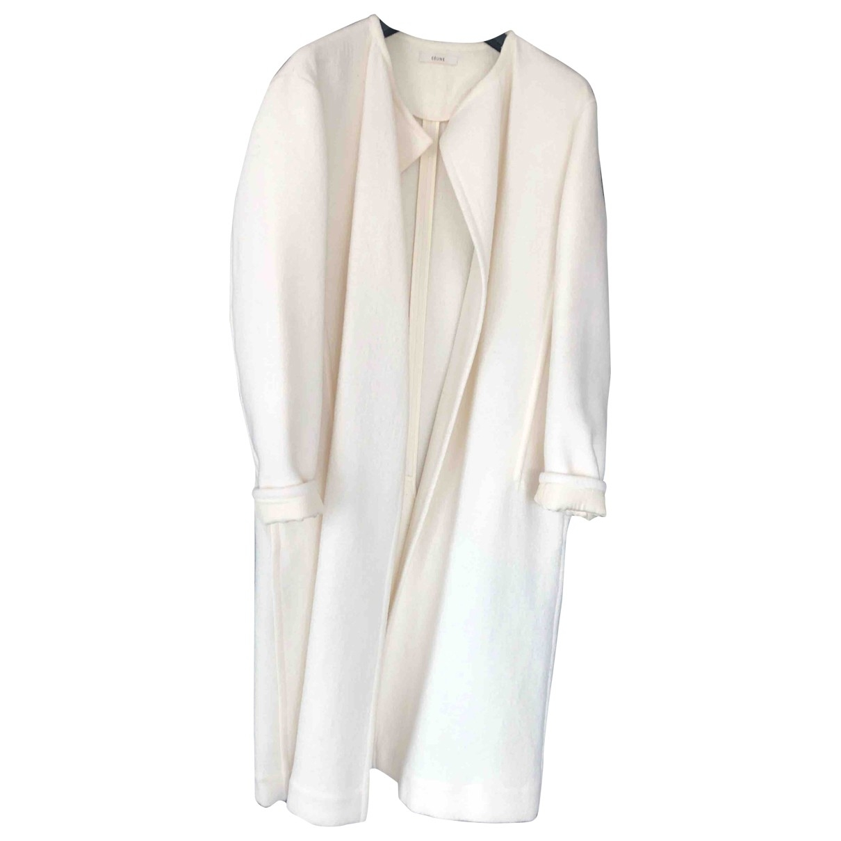 Celine \N Ecru Wool coat for Women 38 FR