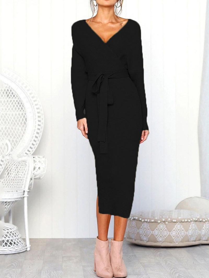 Ericdress Lace-Up V-Neck Long Sleeve Winter Mid Waist Dress
