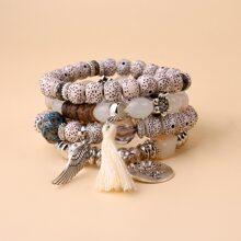 4pcs Tassel Decor Beaded Bracelet