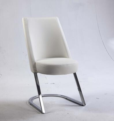 Tami Collection TAMI-SC-WHT TAMI Side Chair with Slight Concave Back  Chrome Frame and PU Leather Upholstery in