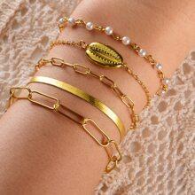 5 Stuecke Armband mit Muschel Dekor