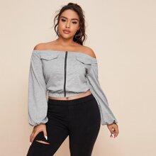 Plus Lantern Sleeve Zip Up Bardot Sweatshirt