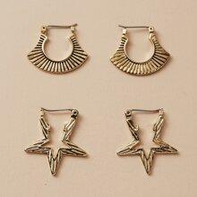 2 Paare Ohrringe mit Metall Stern Dekor