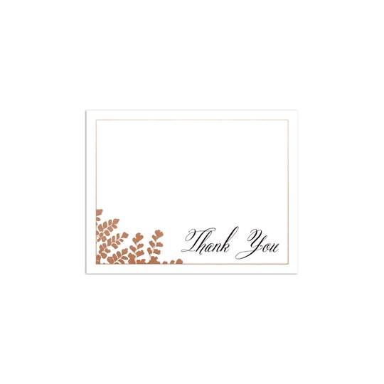20 Pack of Martha Stewart Personalized Skylands Gilded Nature Flat Foil Wedding Thank You in White | 4.25