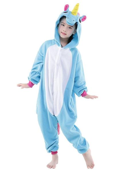 Milanoo Kigurumi Pajamas Unicorn Onesie Light Sky Blue Flannel Animal Winter Sleepwear For Kids Unisex With Zipper Back Costume Halloween