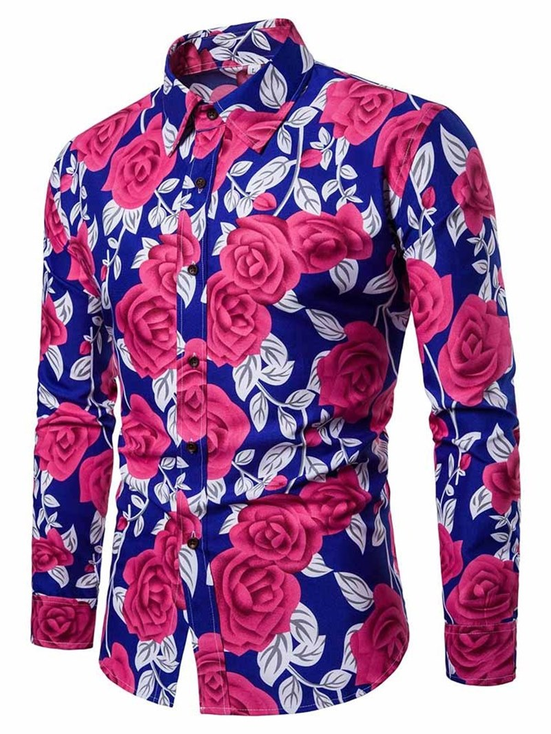 Ericdress Floral Printed Lapel Button Up Slim Mens Casual Shirts