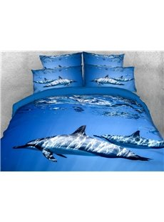 Two Dolphins Swimming In The Blue Ocean 3D Printed 4-Piece Polyester Bedding Sets/Duvet Covers