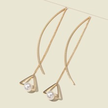 Chain Detail Hollow Triangle Drop Earrings