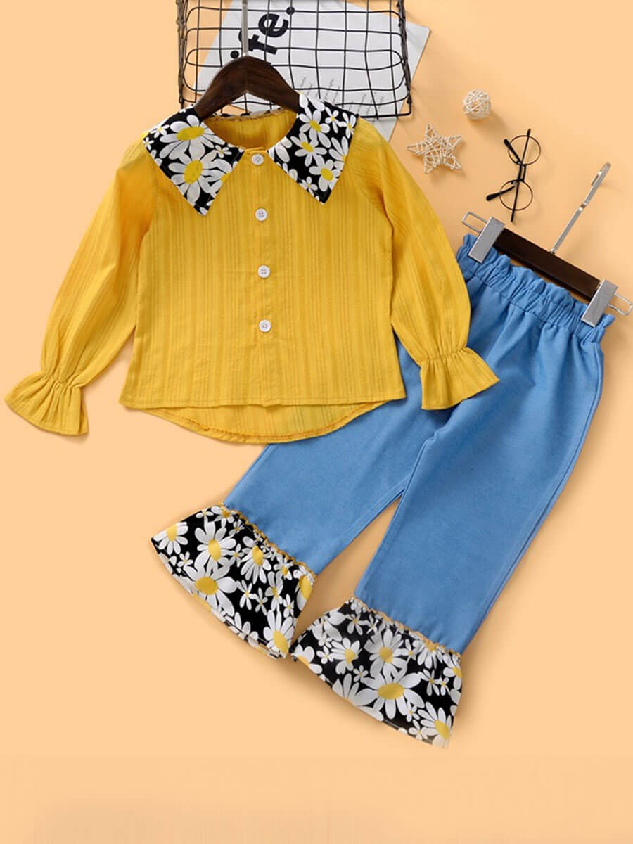 LW Lovely Trendy Shirt Collar Print Patchwork Yellow Girl Two-piece Pants Set