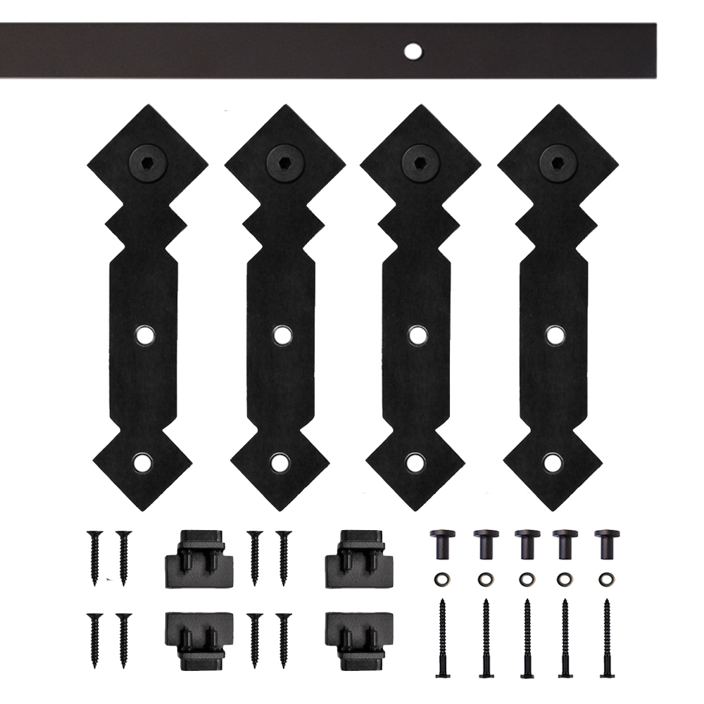 Black Double Diamond Rolling Double Furniture Door Kit with 6-ft. Rail