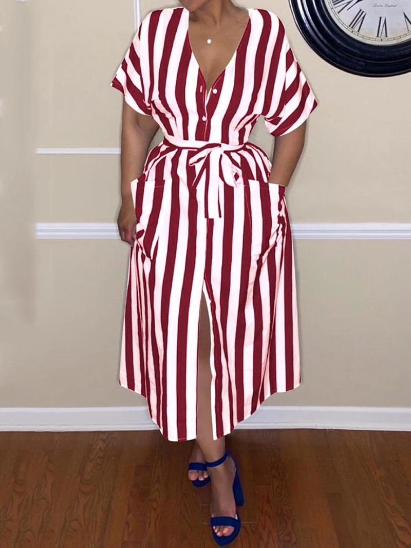 Ericdress Stripe Mid-Calf Pocket A-Line Single-Breasted Dress