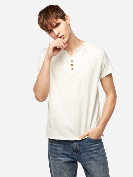 Yoins Chinese Style White V Neck Front Button Design Men's Casual T-Shirt