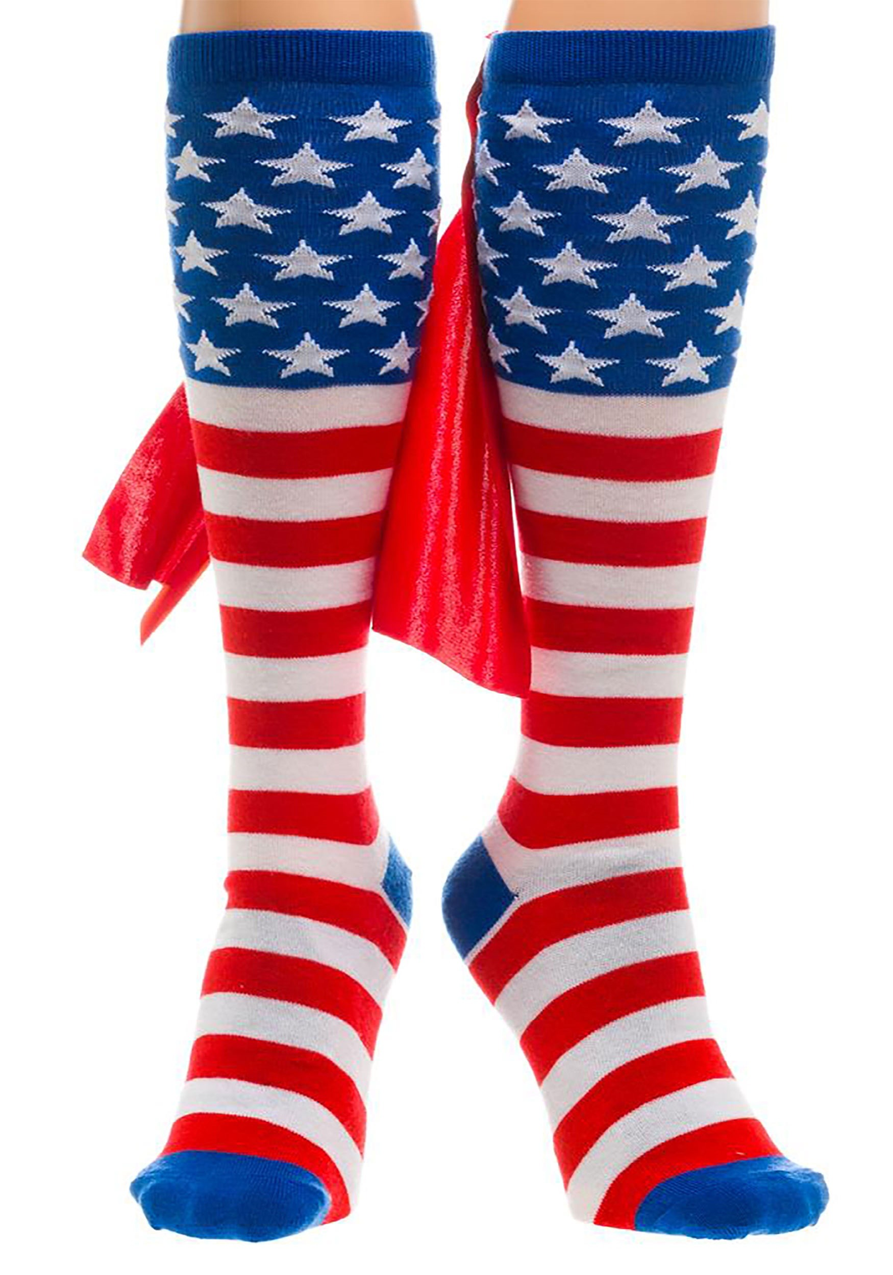 Knee High American Flag Cape Socks For Adults