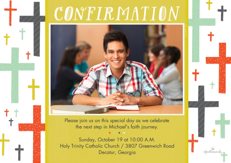 Confirmation Flat Glossy Photo Paper Cards with Envelopes, 5x7, Card & Stationery -Confirmation Cross Pattern