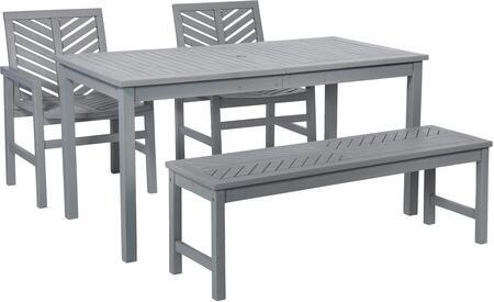 OW4DGVINGW 4-Piece Chevron Outdoor Patio Dining Set in Grey
