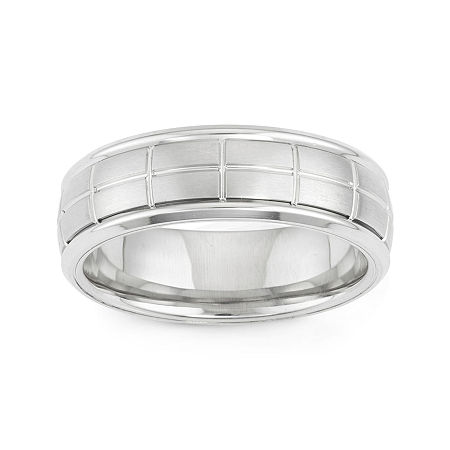 Mens Etched Stainless Steel Band Ring, 8 1/2 , No Color Family
