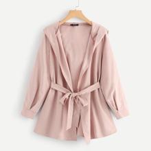 Waist Belted Solid Hoodie Coat