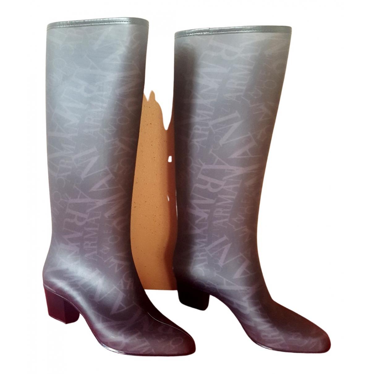 Armani Collezioni N Grey Rubber Boots for Women 40 EU