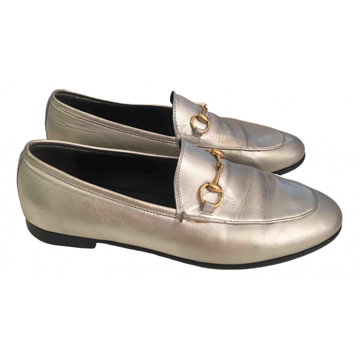 Gucci Jordaan Silver Leather Flats for Women 38 EU