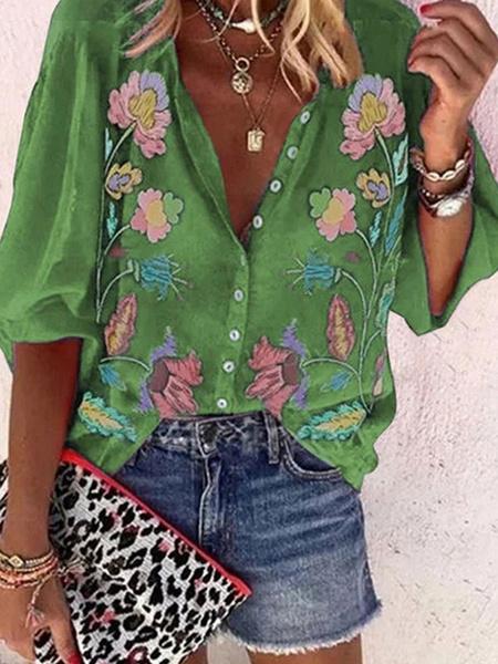 Milanoo Blusa para mujer Camisa informal estampada con mangas largas y cuello vuelto morado