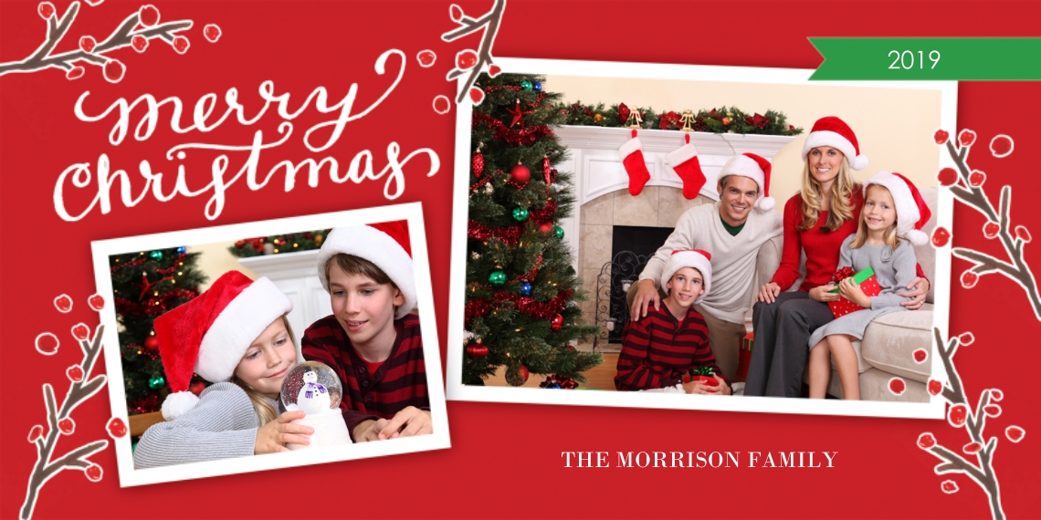 Christmas Photo Cards Flat Matte Photo Paper Cards with Envelopes, 4x8, Card & Stationery -Christmas Red Berries