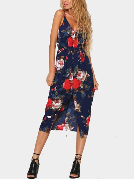 Yoins Random Floral Print Sleeveless Maxi Dress with Split Front