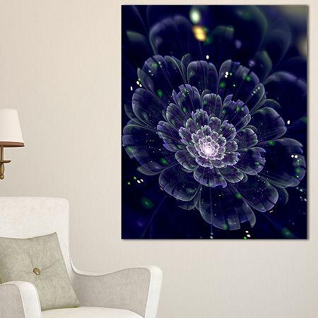 Designart Dark Blue Fractal Flower Digital Art Floral Canvas Art Print, One Size , Blue