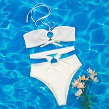 Rib Cut-out Ring Linked Bikini Swimsuit