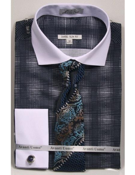 Mens woven design white Collared French Cuff navy Slim Fit Dress Shirt