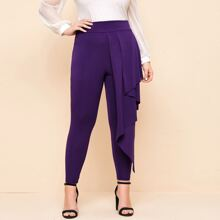 Plus Ruffle Draped Front Skinny Pants