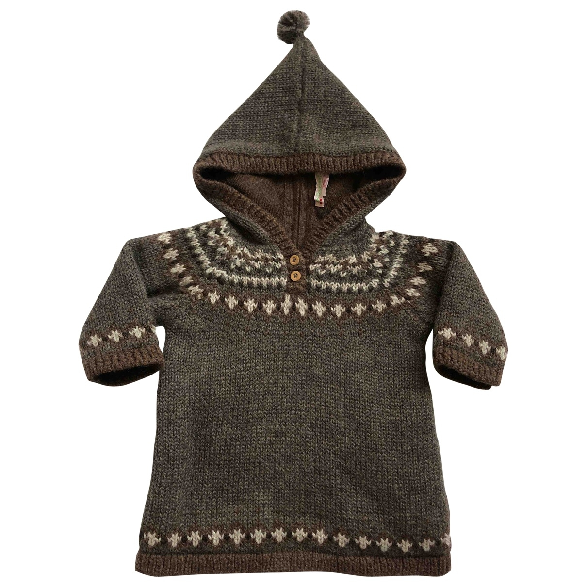 Bonpoint - Pull   pour enfant en laine - marron