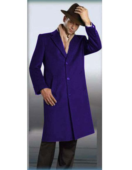Mens Authentic Alberto Nardoni Brand Indigo Full Length Coat Topcoat