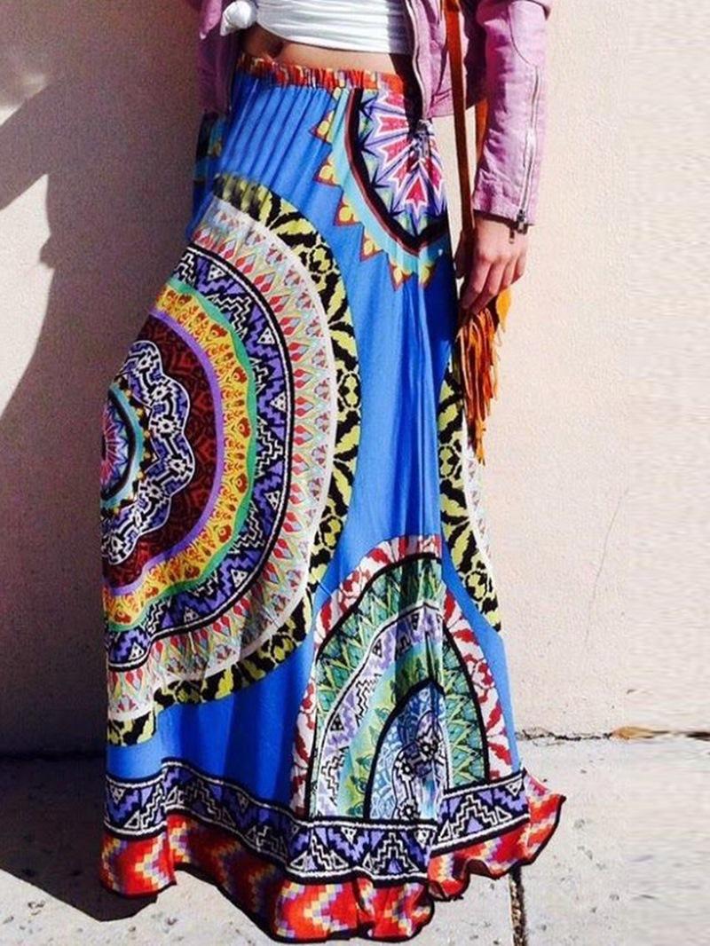 Ericdress Print Geometric Color Block Women's Skirt
