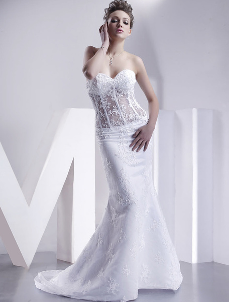 Milanoo Vestidos de novia blanco sin tirantes sirena vestido de novia de encaje apliques escote corazon deshuesado tren de ilusion vestido de novia