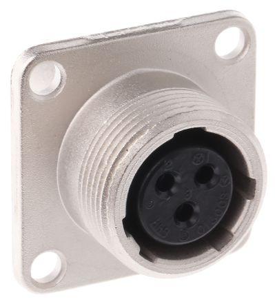 Hirose Connector, 3 contacts Panel Mount Socket, Solder