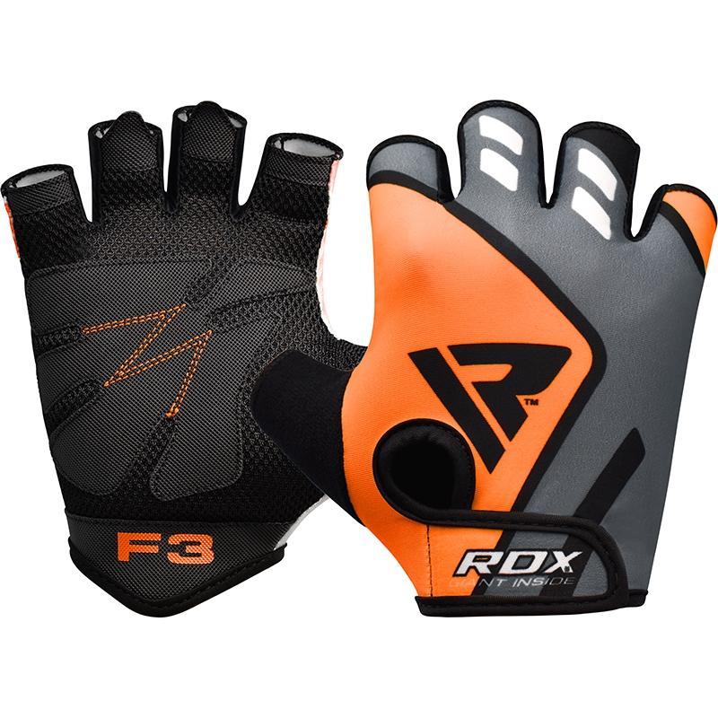 RDX F3 Gants de Musculation Moyenne  Orange Lycra