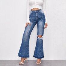 Jeans mit Spritztinte Muster, Riss und ausgestelltem Beinschnitt