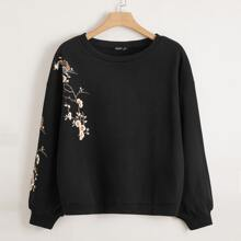 Plus Floral Print Drop Shoulder Sweatshirt