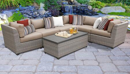FLORENCE-07b-WHEAT Florence 7 Piece Outdoor Wicker Patio Furniture Set 07b with 2 Covers: Grey and
