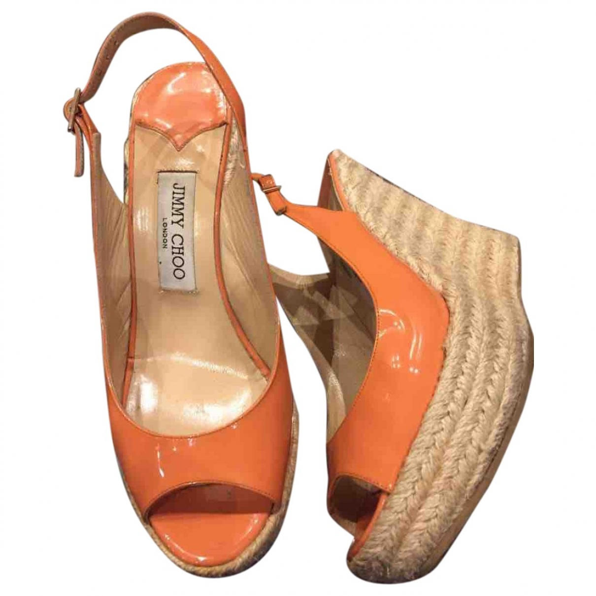Jimmy Choo - Sandales   pour femme en cuir verni - orange