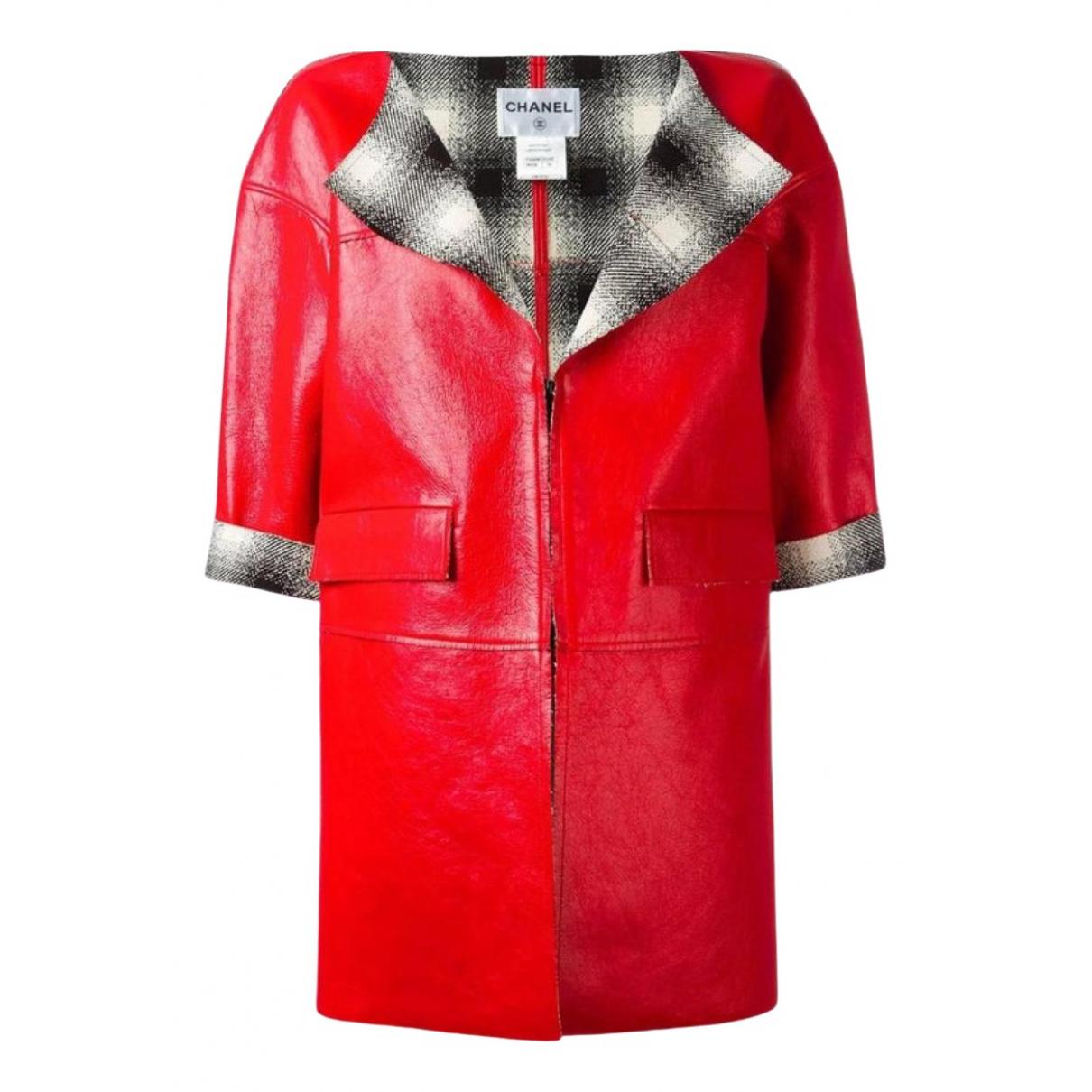 Chanel - Manteau   pour femme en cuir - rouge