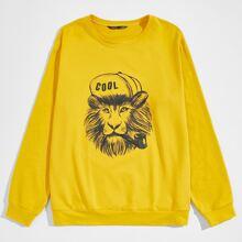 Men Lion Print Pullover