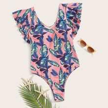 Einteilige Badebekleidung mit Rueschen und Palmendruck