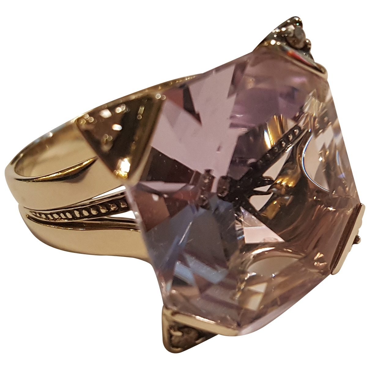 Non Signé / Unsigned \N Purple Yellow gold ring for Women \N