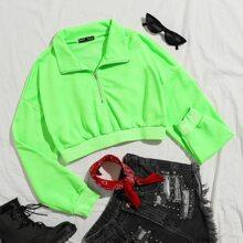 Neon gruenes Crop Sweatshirt mit halber Reissverschlussleiste