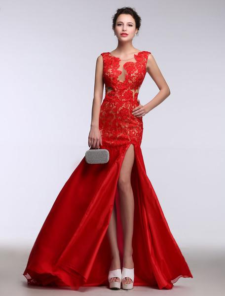 Milanoo Vestido de noche rojo sin mangas Escote transparente de encaje