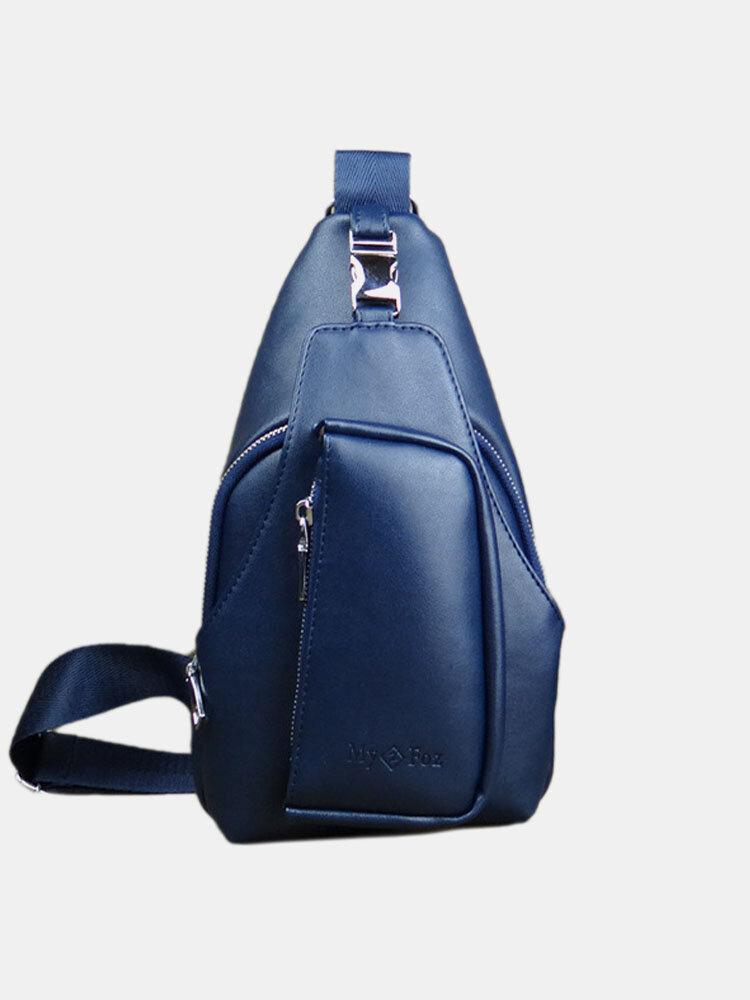 Men PU Leather Waterproof Crossbody Bag Chest Bag Sling Bag