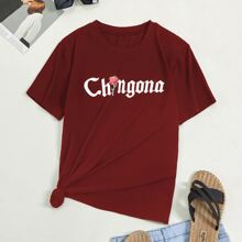 T-Shirt mit Buchstaben & Rose Muster