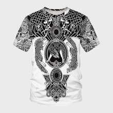Men Tribal Animal Print Tee
