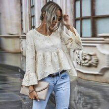 Solid Fuzzy High-Low Babydoll Blouse